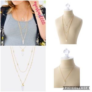 :: Stella & Dot Gold Quartz Aria Pendant Necklace